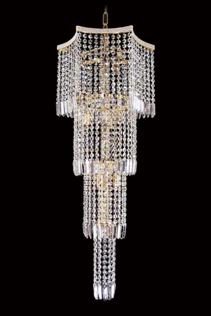 "8081 Crystal Pendant Light 17"" 10 Light - Asfour Crystal Chandelier [8081-17""-18mm]"
