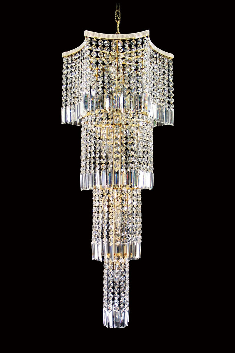 "8081 Crystal Pendant Light 20"" 13 Light Chrome - Asfour Crystal Chandelier [8081-20""-22mm]"