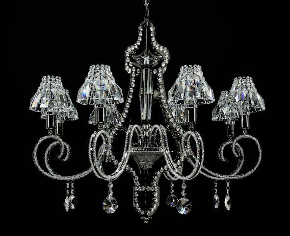 "8812 Crystal Pendant Light - 30"" 8 Light - Asfour Crystal Chandelier [8812-30""-8L-1040+1143]"