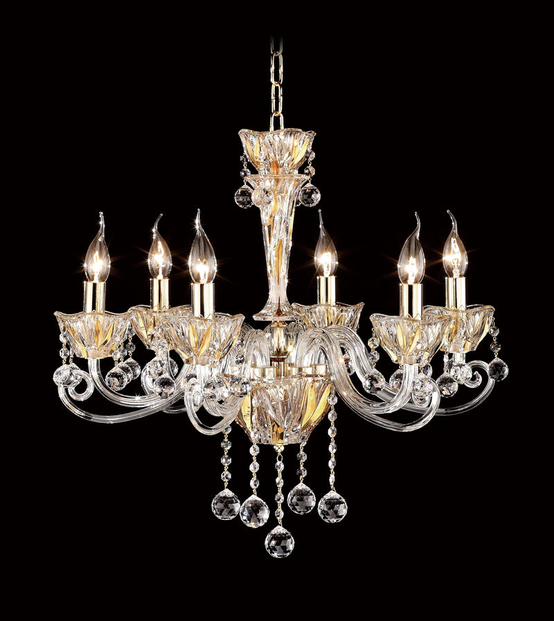 "8829 Crystal Pendant Light - 24"" 6 Light - Asfour Crystal Chandelier [8829-24""-6L-701]"