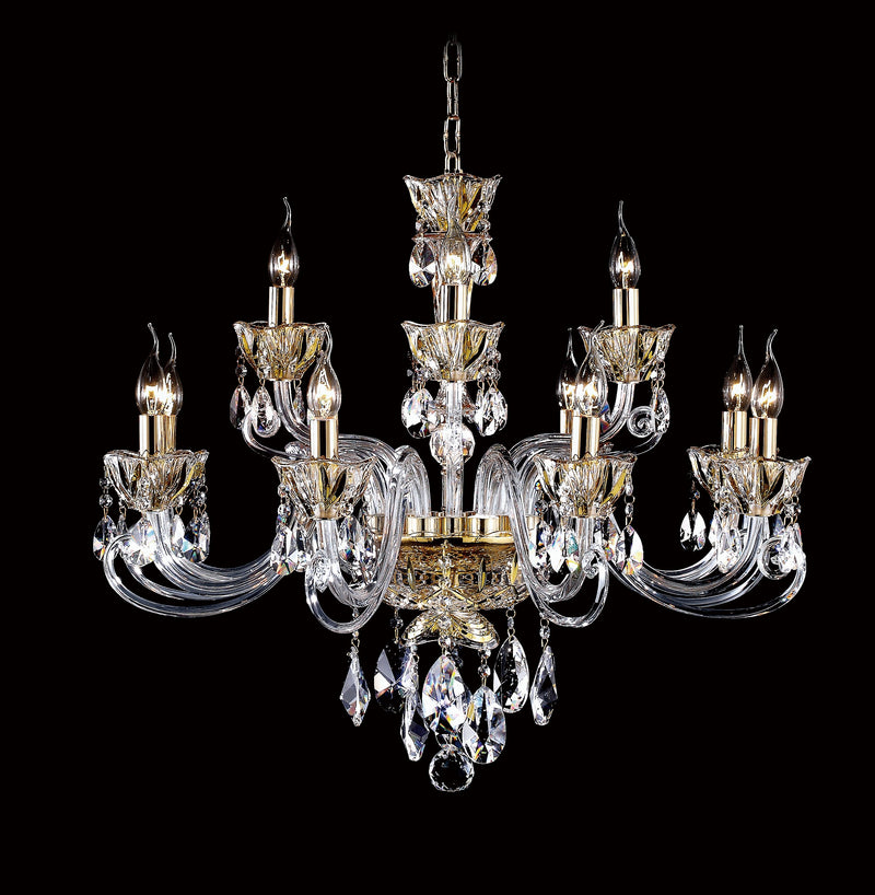 "8829 Crystal Pendant Light - 31"" 12 Light - Asfour Crystal Chandelier [8829-31""-8-4L-873]"