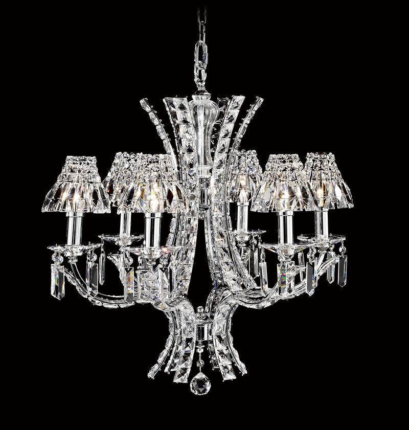 "9560 Crystal Pendant Light - 23"" 6 Light - Asfour Crystal Shade - Chandelier [9560-23""-6L-2024-28+1143]"
