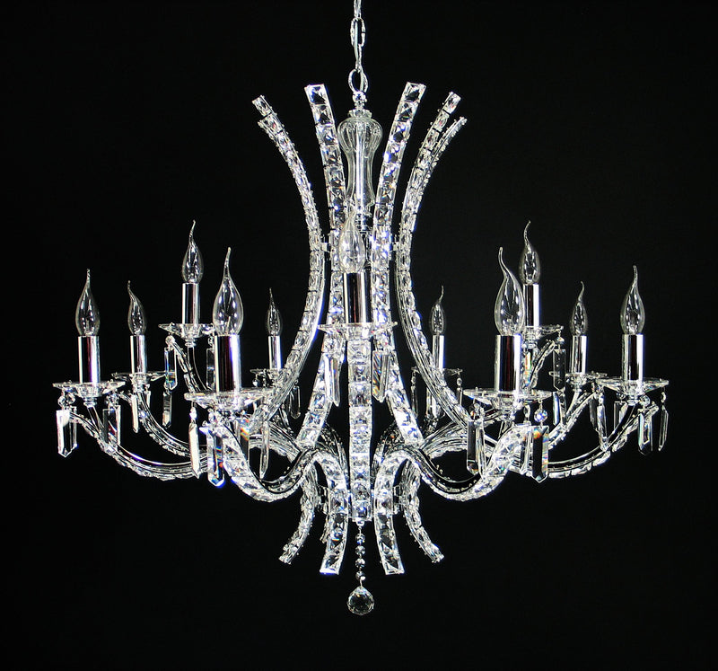 "9560 Crystal Pendant Light - 35"" 12 Light - Asfour Crystal Chandelier [9560-35""-8+4L-2024]"