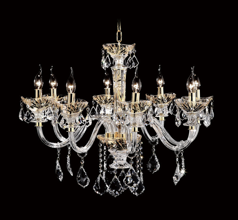"9909 Crystal Pendant Light - 31"" 8 Light - Asfour Crystal Chandelier [9909-31""-8L-911]"