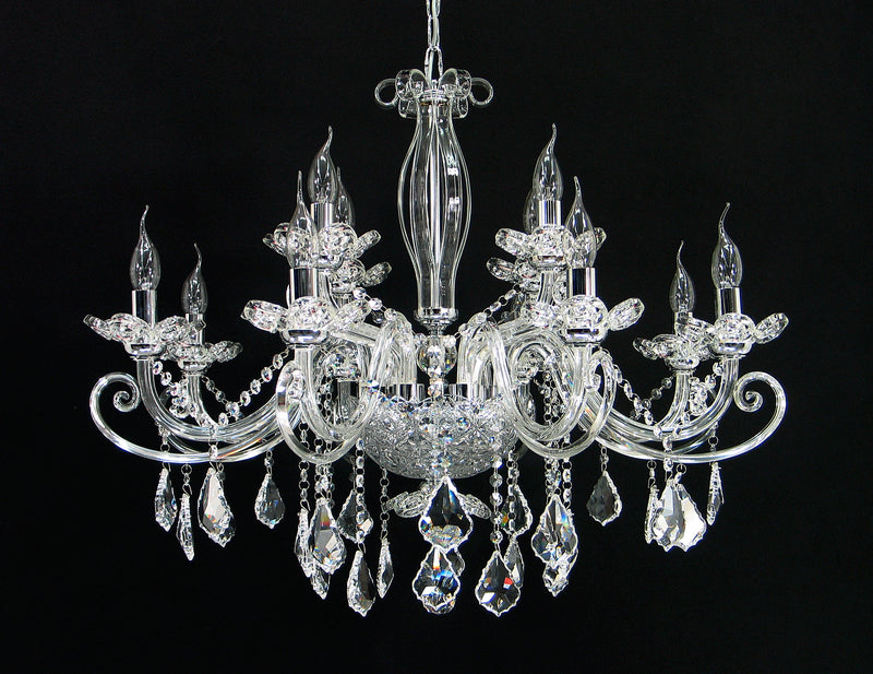 "99351 Crystal Pendant Light - 32"" 12 Light - Asfour Crystal Chandelier [99351(1106)-32""-8+4L-911]"