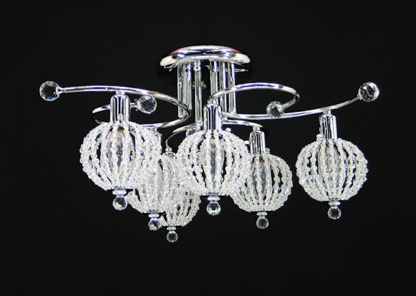 "059 Crystal Flush Mount Light 23"" 6 Light - Asfour Crystal [C-059-23""-6L+1145 WH]"
