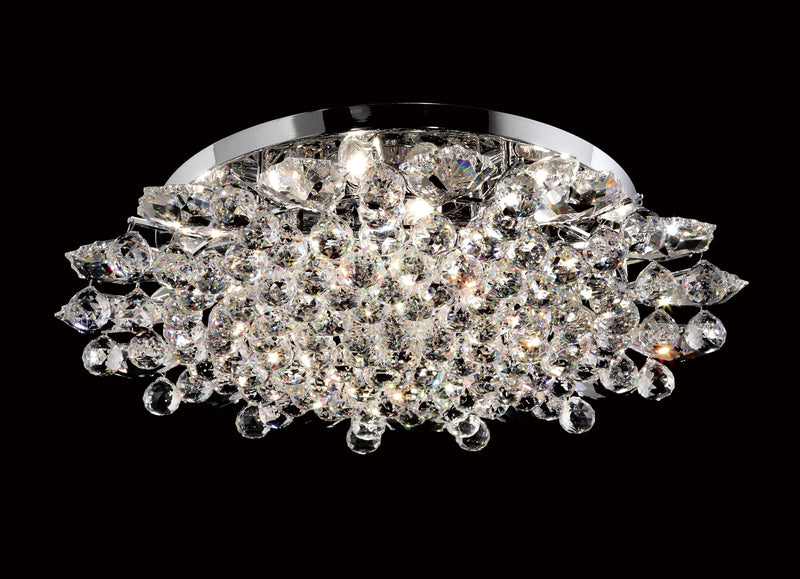 "13 Crystal Flush Mount Light 27"" 12 Light - Asfour Crystal [C-13-27""-911-15]"