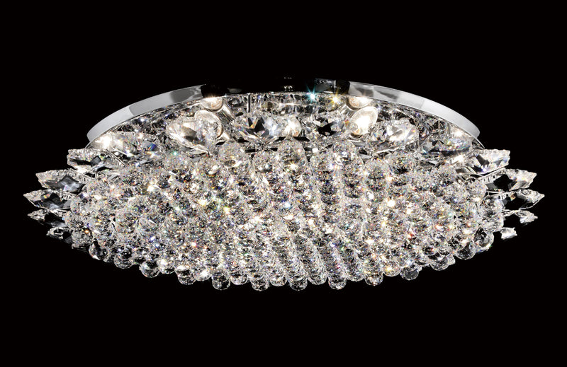 "13 Crystal Flush Mount Light 36"" 18 Light - Asfour Crystal [C-13-36""-911-27]"