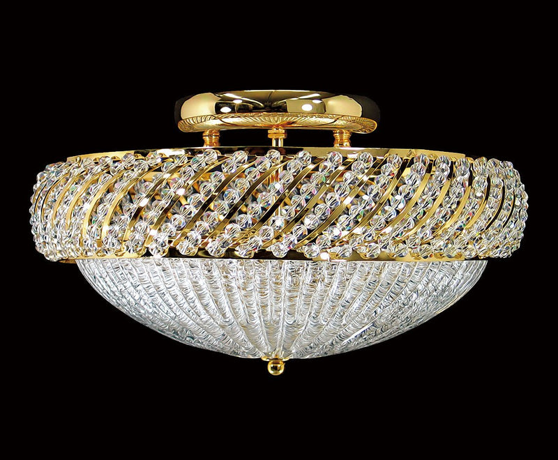 "1502 Crystal Flush Mount Light 13"" 4 Light - Asfour Crystal [C-1502-13""]"