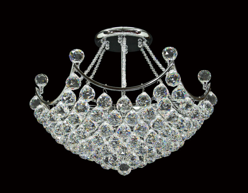 "2006 Crystal Semi Flush Mount Light 21"" 8 Light - Asfour Crystal [C-2006-21""-40mm]"