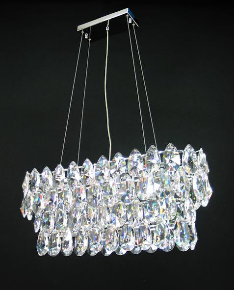"2015 Crystal Pendant Light 30"" 8 Light - Asfour Crystal Chandelier [C-2015-30""x10""-873-100]"