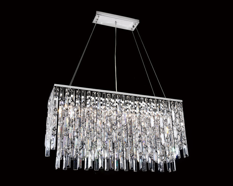 "20610 Crystal Semi Flush Mount Light 31.5"" Rectangle 6 Light - Asfour Crystal [C-20610-31.5""x8""-6L]"
