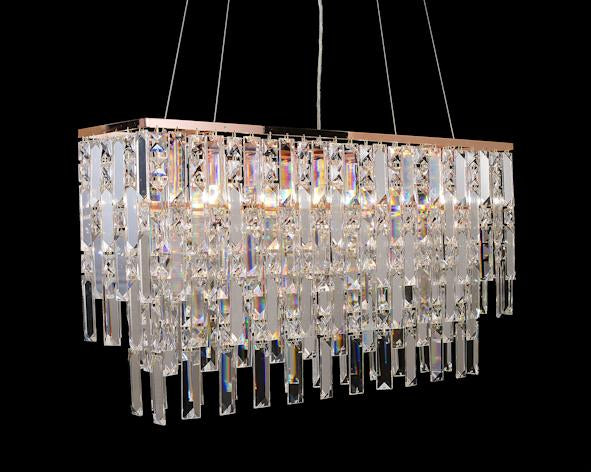 "20610 Crystal Pendant Light 31"" x 8"" Rectangle 8 Light - Asfour Crystal Chandelier [C-20610(610-4"")-31""x8""-8L]"