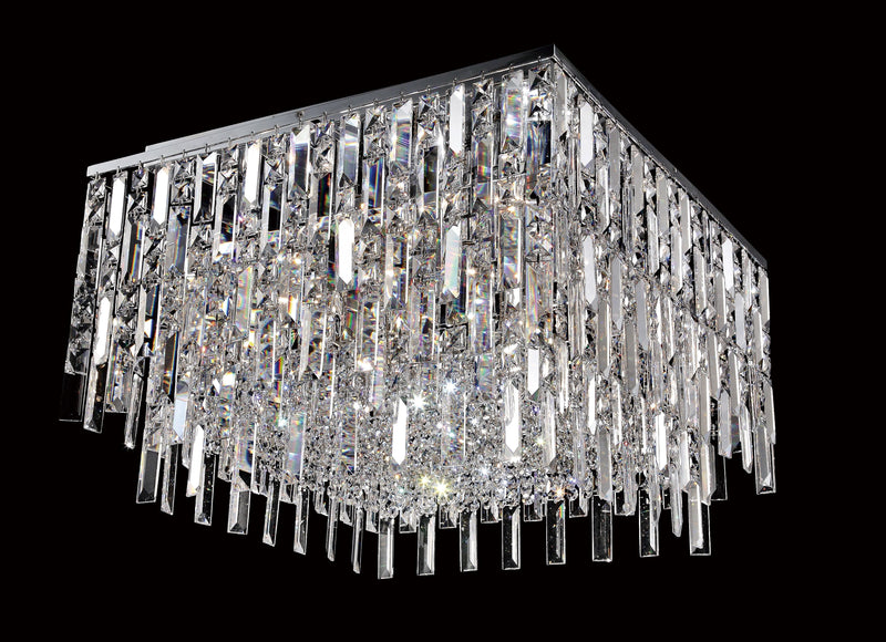 "20611 Crystal Flush Mount Light 22"" Square 12 Light - Asfour Crystal [C-20611-22""-12L-SQ]"