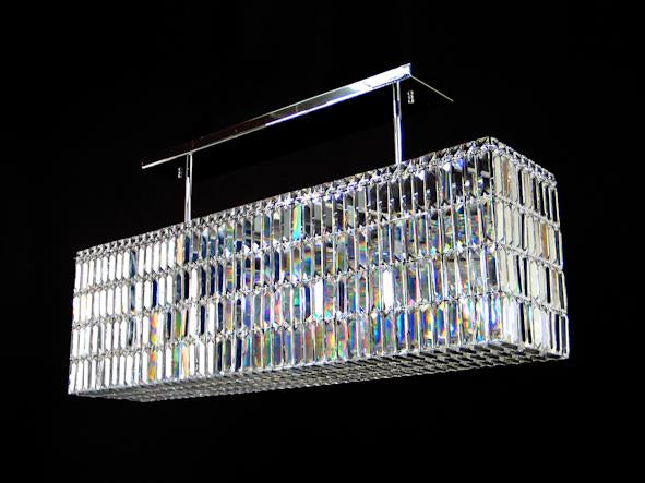 "20615 Crystal Semi Flush Mount Light 45"" Rectangle 12 Light - Asfour Crystal [C-20615-45""x10""-12L]"