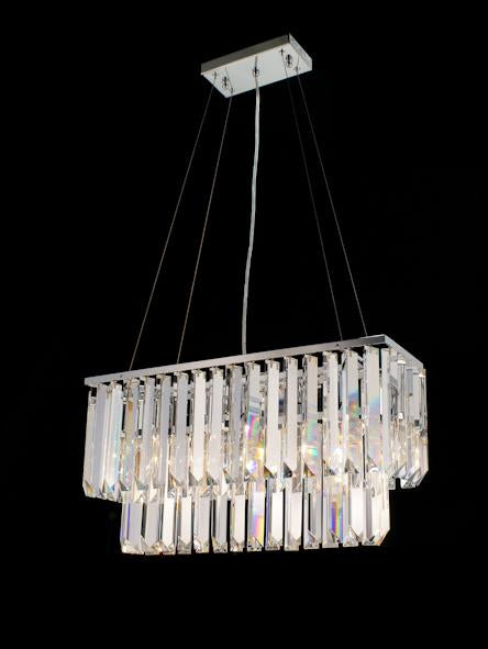 "20628 Crystal Pendant Light 24"" Rectangle 5 Light - Asfour Crystal Chandelier [C-20628-24""x8""-5L-TR-72]"
