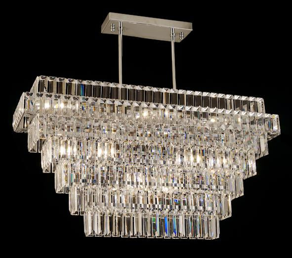 "21625 Crystal Semi Flush Mount Light 32"" 9 Light - Asfour Crystal [C-21625-32""x8""xHT17.5""-9L]"