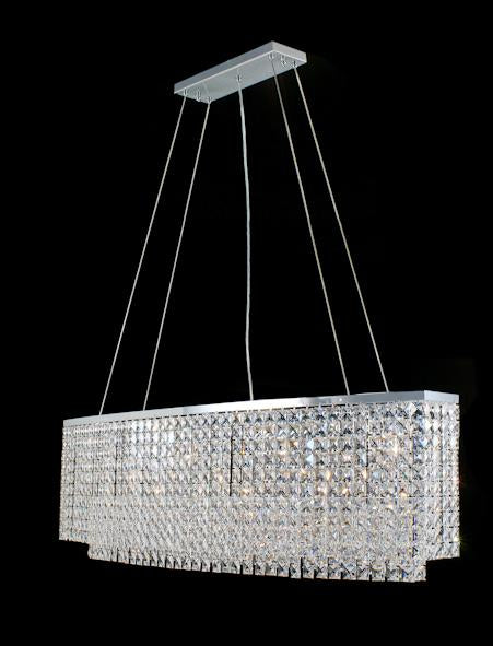 "21628 Crystal Pendant Light 48"" Rectangle 10 Light - Asfour Crystal Chandelier [C-21628-48""x13""x15""-2020-28mm]"
