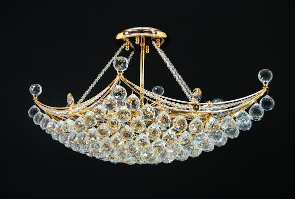 "3008 Crystal Semi Flush Mount Light - 30"" 8 Light - Asfour Crystal 40mm Ball [C-3008-30""x18""-40mm]"