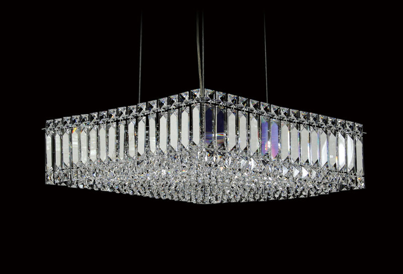 "6100 Crystal Pendant Light - 18"" Square 8 Light (Ht 5"") - Asfour Crystal Chandelier [C-6100-18""x18""-14mm-SQ(H13cm)]"