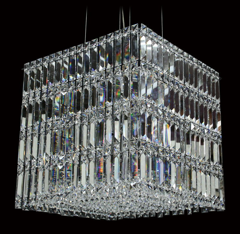 "6100 Crystal Pendant Light - 18"" Square 12 Light - Asfour Crystal Chandelier [C-6100-18""x18""-14mm-SQ(H45cm)]"