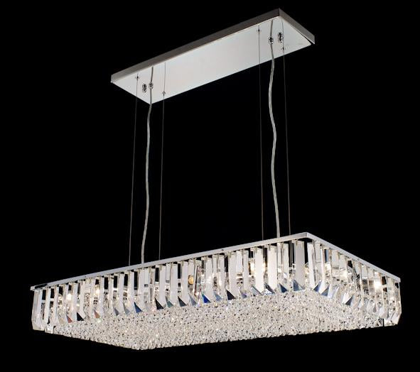 "6200 Crystal Semi Flush Mount Light - 35"" 12 Light - Asfour Crystal [C-6200(RE)-35""x17""-14mm-TR-74]"