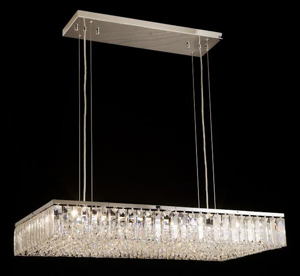 "6200 Crystal Pendant Light 35"" 12 Light - Asfour Crystal Chandelier [C-6200(RE)-35""x17""-14mm-610-4""]"