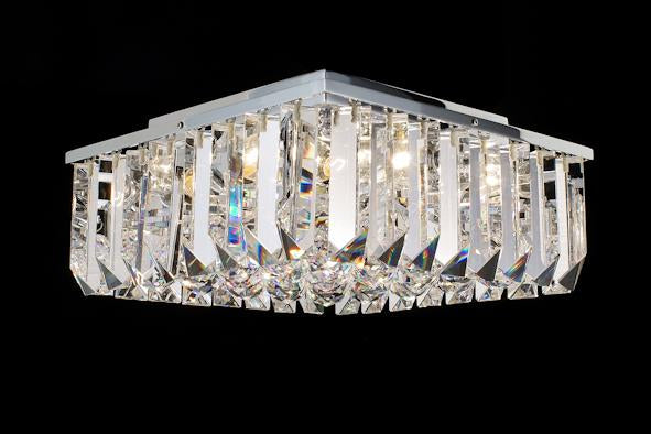 "6200 Crystal Flush Mount Light - 13"" Square 4 Light - Asfour Crystal [C-6200(SQ)-13""x13""-40mm-TR-32]"