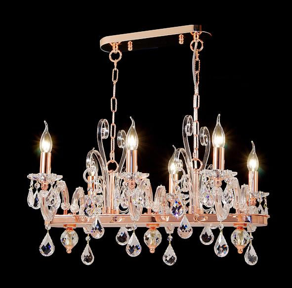 "6615 Crystal Pendant Light 26"" 6 Light - Asfour Crystal Chandelier [C-6615(1039)-26""x21""xHT16""-6L-918]"