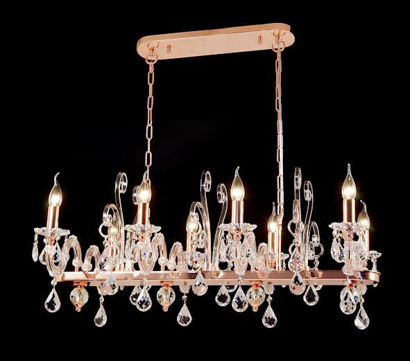 "6615 Crystal Pendant Light - 36"" 8 Light - Asfour Crystal Chandelier [C-6615(1039)-36""x21""xHT16""-8L-918]"
