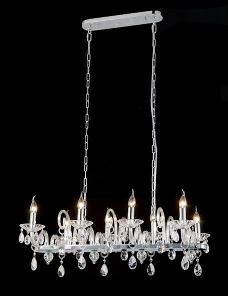 "6616 Crystal Pendant Light - 36"" 8 Light - Asfour Crystal [C-6616(D07)-36""x21""xHT15""-8L-973 (Longer Chain)]"