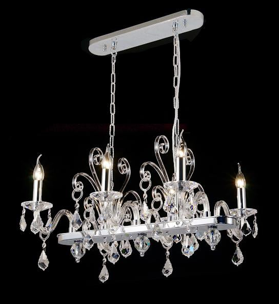 "6617 Crystal Pendant Light - 26"" 6 Light - Asfour Crystal Chandelier [C-6617(1038)-26""x21""xHT16""-6L-911]"