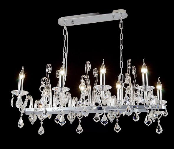 "6617 Crystal Semi Flush Mount Light - 36"" 8 Light - Asfour Crystal [C-6617(1038)-36""x21""xHT16""-8L-911]"