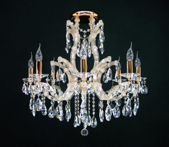 "6642 Crystal Semi Flush Mount Light - 28"" 9 Light - Asfour Crystal [C-6642-28""-8+1L-1038-873]"