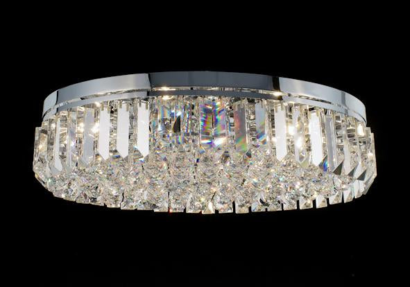 "684 Crystal Flush Mount Light - 24"" 10 Light - Asfour Crystal [C-684-24""x16""-46-40mm-88]"