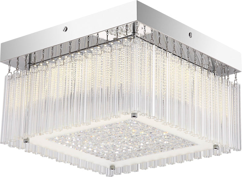 "3233M LED Crystal Flush Mount Light - 16"" SQUARE 28W [D3233M-SQ-LED-28W]"