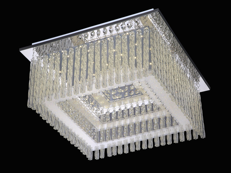 "6133 LED Crystal Flush Mount Light - 18"" SQUARE 28W [D6133M-SQ-LED-28W]"