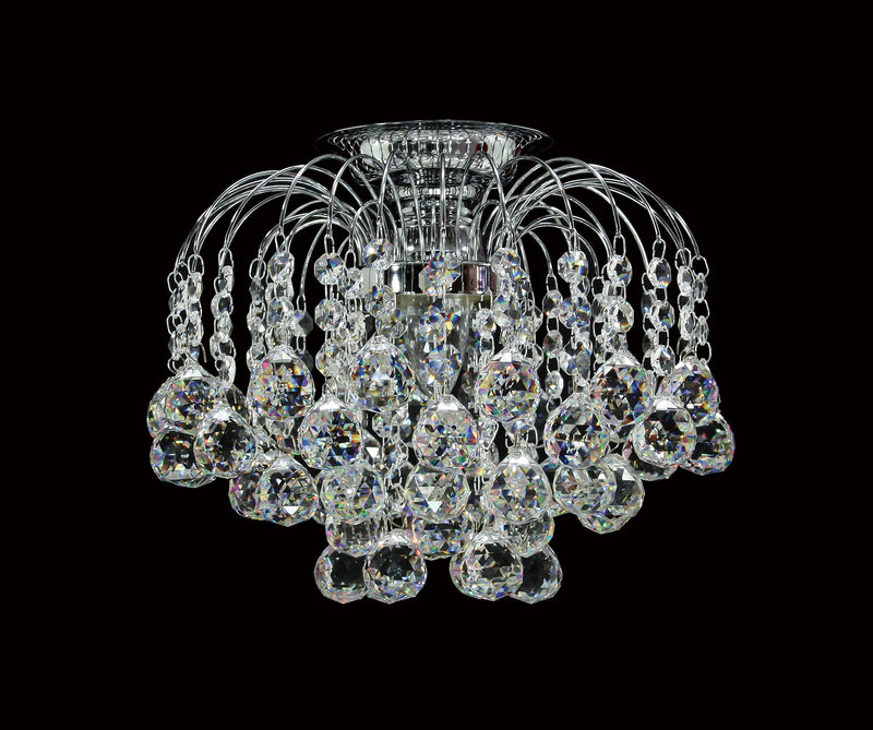 "HLC 10"" Crystal Batten Fix Ceiling Light (DIY) - Asfour Crystal Balls & 14mm Beads [HLC-10""-14-701]"