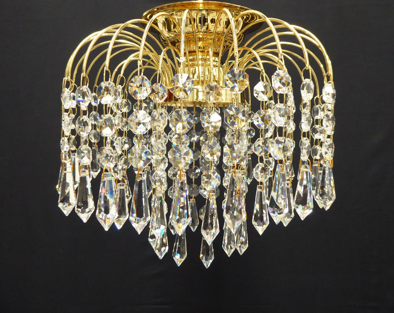 "HLC 10"" Crystal Batten Fix Ceiling Light (DIY) - Asfour Crystal Prismas & 14mm Beads [HLC-10""-14-401]"