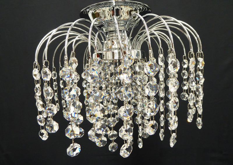 "HLC Crystal Batten Fix Ceiling Light (DIY) - 10"" Chrome - Asfour Crystal 14mm Beads [HLC-10""-14]"