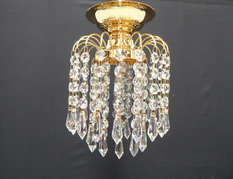 "HLC 6"" Crystal Batten Fix Ceiling Light (DIY) - Asfour Crystal Prismas & 14mm Beads [HLC-6""-14-401]"