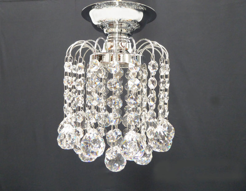 "HLC 6"" Crystal Batten Fix Ceiling Light (DIY) - Asfour Crystal Balls & 14mm Beads [HLC-6""-14-701]"