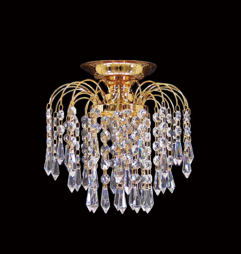 "HLC 8"" Crystal Batten Fix Ceiling Light (DIY) - Asfour Crystal Prismas & 14mm Beads [HLC-8""-401]"