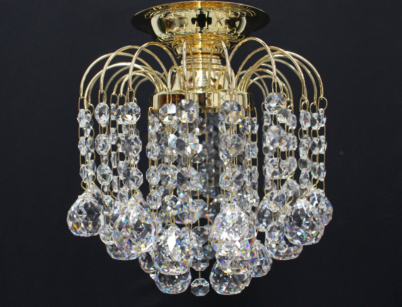 "HLC 8"" Crystal Batten Fix Ceiling Light (DIY) - Asfour Crystal Balls & 14mm Beads [HLC-8""-14-701]"