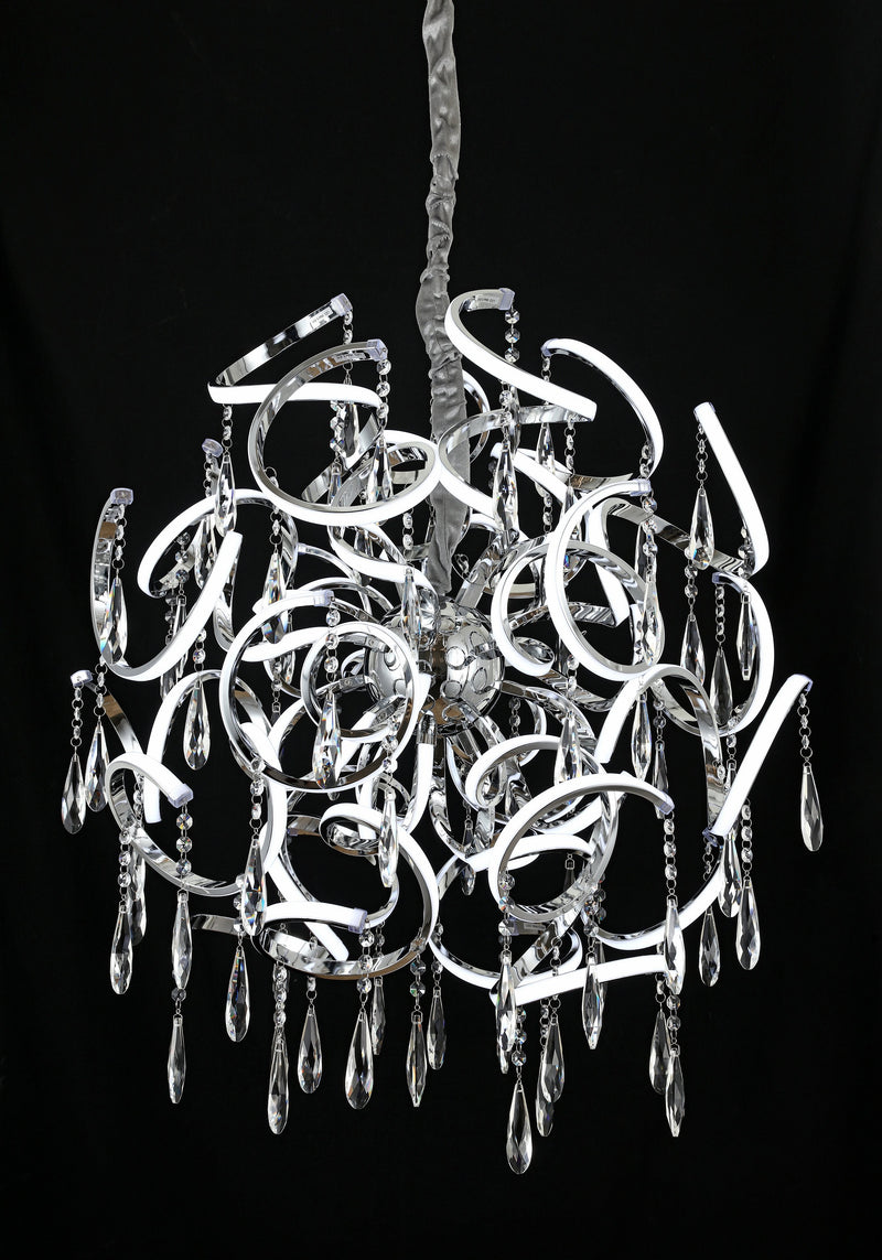 "Jupiter 30"" 138W LED Pendant Light with Asfour Crystal [Jupiter-60-138W+Crystal]"