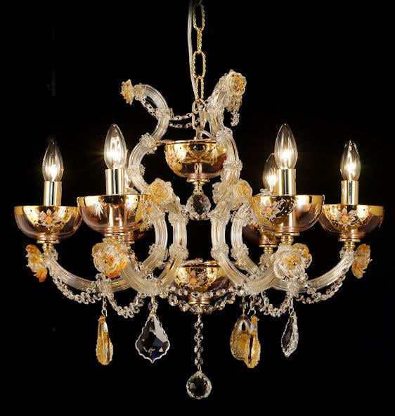 "6611 Crystal Pendant Light - 25"" 6 Light - Asfour Crystal Chandelier [NO.1-6611-25""-6L-911+CG]"