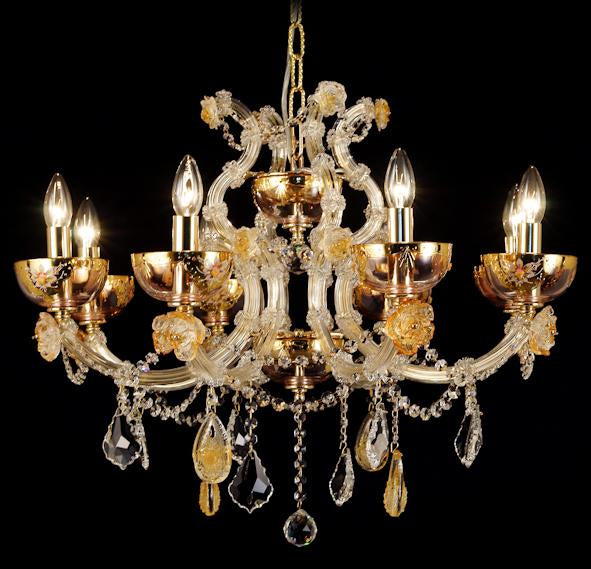 "6611 Crystal Pendant Light - 28"" 8 Light - Asfour Crystal Chandelier [NO.1-6611-28""-8L-911+CG]"