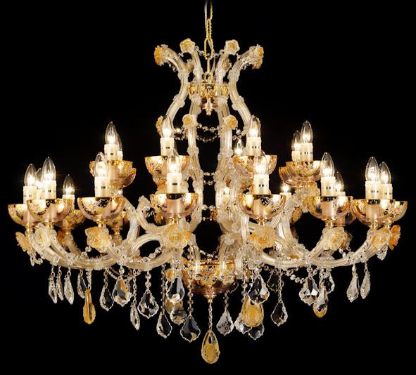 "6611 Crystal Pendant Light - 43"" 24 Light - Asfour Crystal Chandelier [NO.1-6611-43""-16+8L-911+CG]"