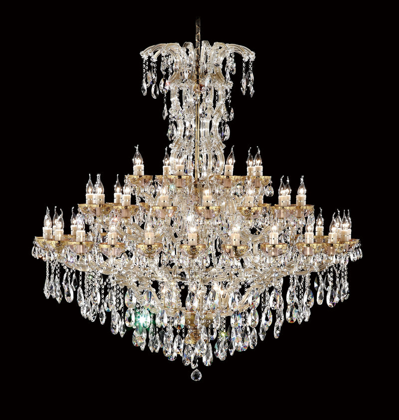 "6620 Crystal Pendant Light - 59"" 60 Light - Asfour Crystal Chandelier [No.1-6620-59""-24+16+8L+(12L)-873]"