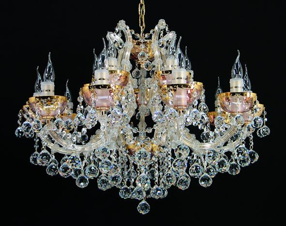 "6632 Crystal Pendant Light - 31"" 15 Light - Asfour Crystal Chandelier [NO.1-6632-31""-10+5L-911+CG]"